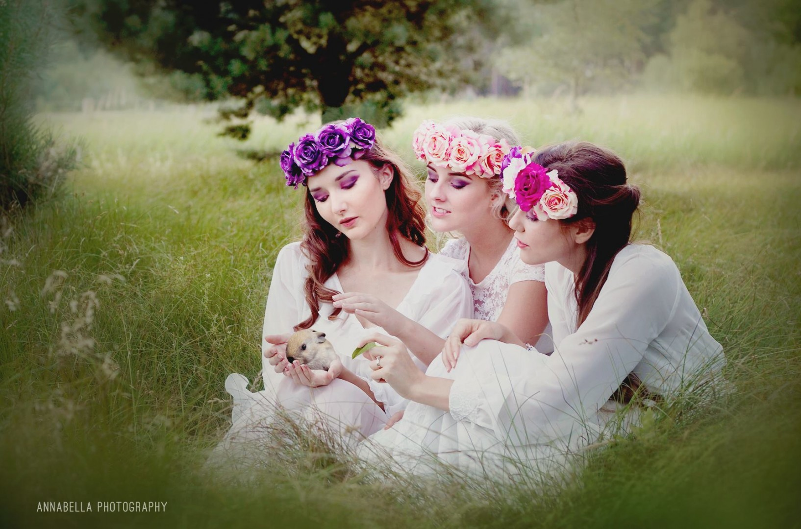 Modeling the Rouge Pony Summer 2014 Flower Crown Collection as Woodland Fairies<br /> Photographer: Annabella Photography<br /> MUA: Kim Ivey<br /> Accessories: Rouge Pony<br /> Models (Right to Left): Bernadette Lemon, Alexandra Coe, Nakita Harden