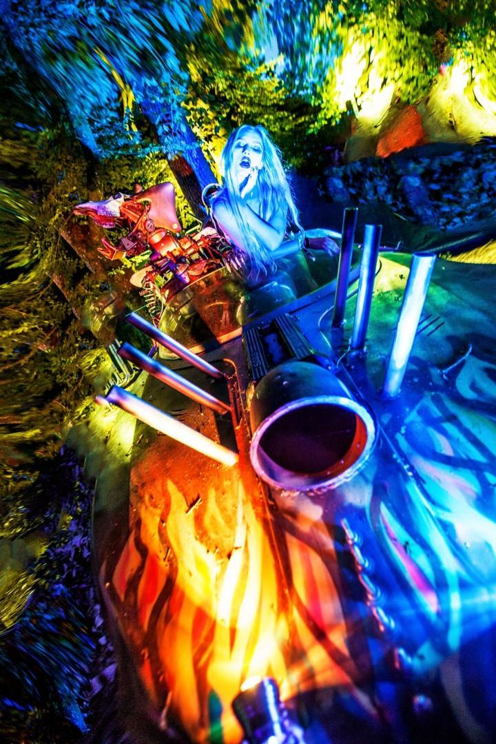 **Alice in acidland**<br /> Model - Olivia Harriet<br /> Wardrobe - Black Milk Clothing<br /> Props - Coalescence-Collective Scrapmetal-artworks<br /> Lights - Northen Lights
